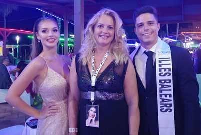 Claudia Cruz Miss Internacional Spain 2019, Paquita R. Sampol Delegación Illes Balears y Roberto García Mister Internacional Illes Balears 2019