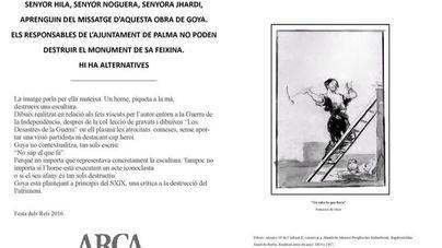 ARCA da un particular regalo de Reyes a Cort contra la destrucción del patrimonio