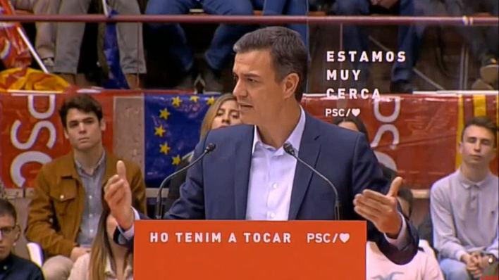Sánchez da una muestra de fuerza en Barcelona