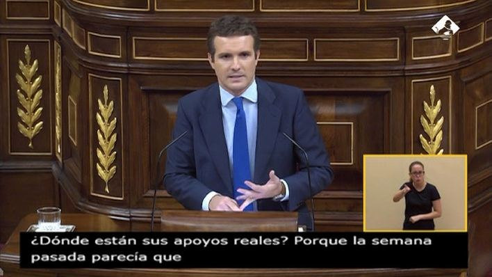 Casado acusa a Sánchez de 'impostura' al avergonzarse de sus socios de investidura