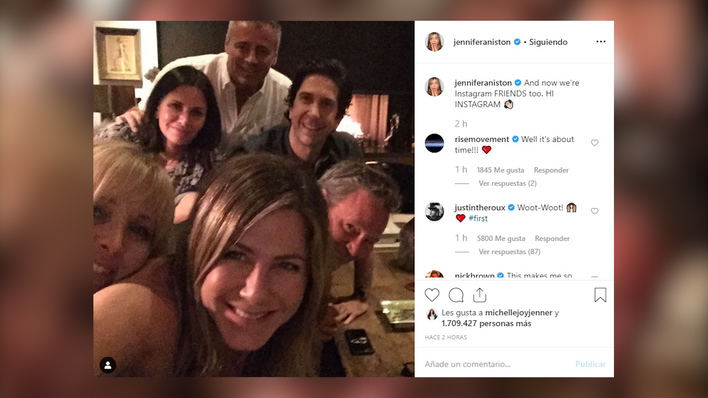 Jennifer Aniston llega a instagram con el reencuentro de 'Friends'