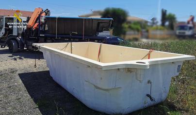 Una cámara registra el robo de una piscina de grandes dimensiones en Santa María