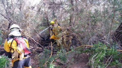 Continúa activo el incendio forestal en Cala Saona
