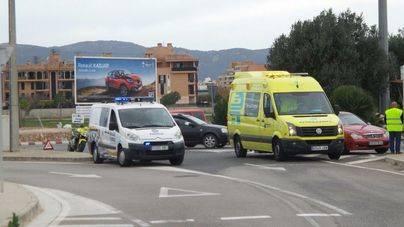Herido grave un motorista en la rotonda de Son Morro en Palma