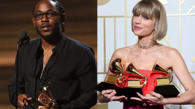Kendrick Lamar y Taylor Swift triunfan en los Grammy