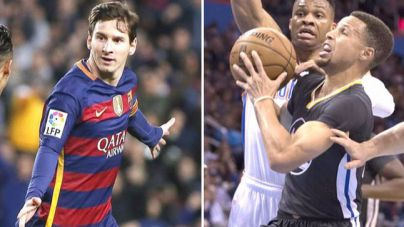 Las canastas de Curry como si fueran goles de Messi