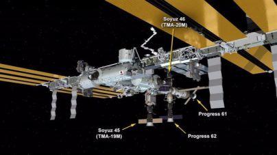 Cinco naves espaciales atracan en la Estación Espacial Internacional