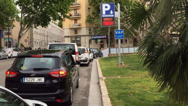 El parking de Passeig Mallorca, completo