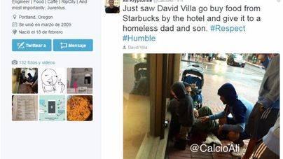 Villa compra comida para un padre y su hijo que pedían en la calle