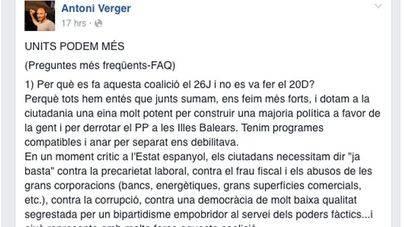 Verger cree que el pacto con Podem es