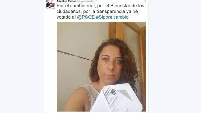 El PP denuncia a Angélica Pastor por pedir el voto en Twitter