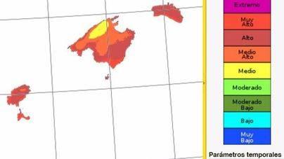 Media Mallorca se mantiene en un alto riesgo de incendios
