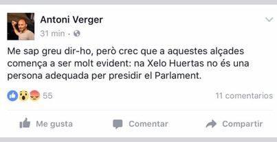 Dirigentes de Més ya no ven a Huertas 'apropiada' para el cargo