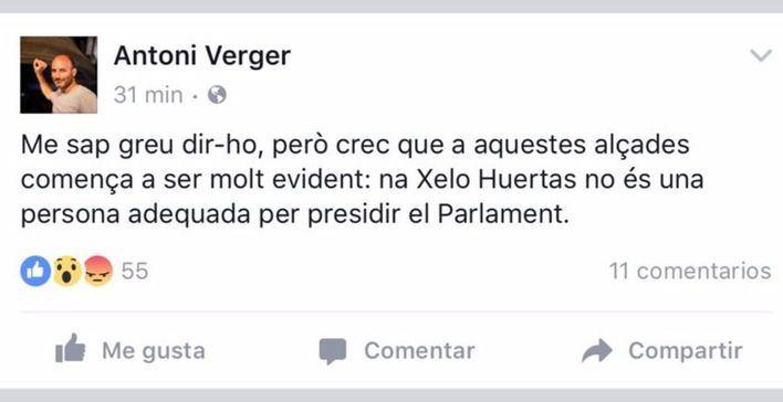 Publicación de Verger en Facebook