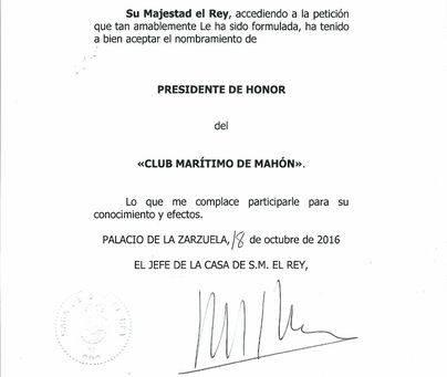 Felipe VI, nuevo presidente de honor del Club Marítimo de Maó