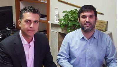 Aitor Ortega, director de Telefónica Baleares y Andreu Bujosa, alcalde de Bunyola