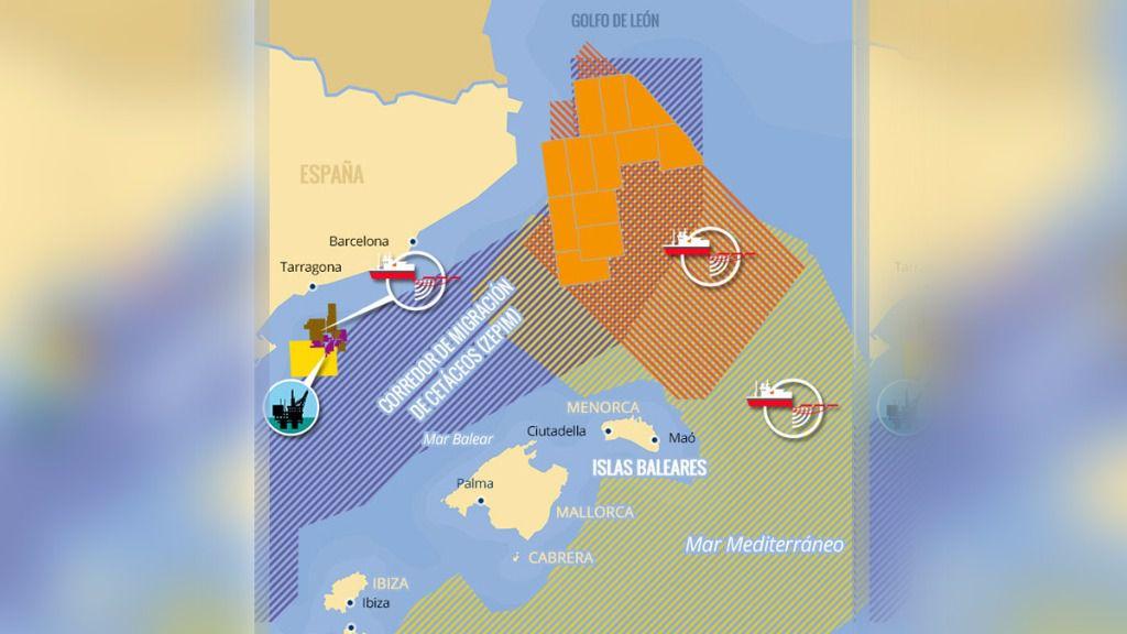 Mapa con las prospecciones petrolíferas previstas