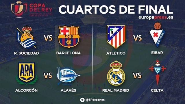 Real Madrid-Celta y Real Sociedad-Barcelona, en cuartos de la Copa del Rey