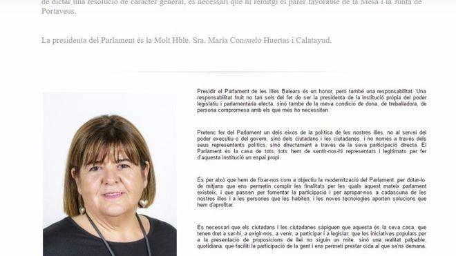 Xelo Huertas desaparece de la web del Parlament