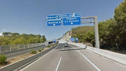 Las obras de reparación de la autovía Palmanova-Peguera comenzarán en febrero