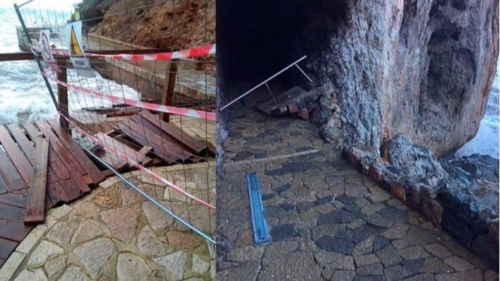 Cerrado el acceso a Sa Calobra por destrozos a causa del temporal