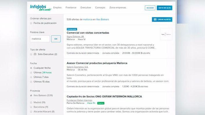 El número de puestos de trabajo ofertados por infoJobs en Balears se dispara un 132%