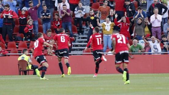 Celebración del gol de Brandon al Almería