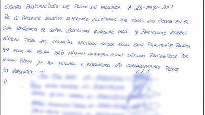 57 presos de Palma envían a Penalva una carta de apoyo a Cursach