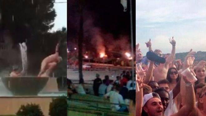 Turistas que se bañan desnudos en una fuente, que queman sombrillas y beben de día y de noche
