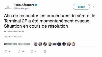Imagen de twitter de la cuenta del aeropuerto