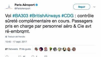 Evacuado un avión de British Airways