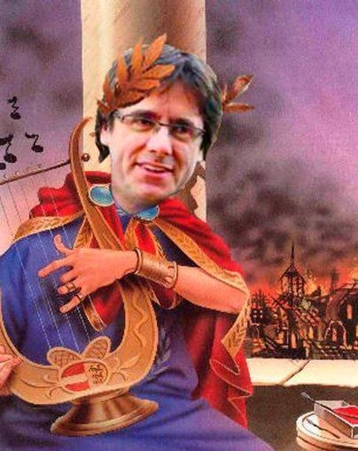 Puignerón toca la lira y deleita a su corte mientras arde Cataluña