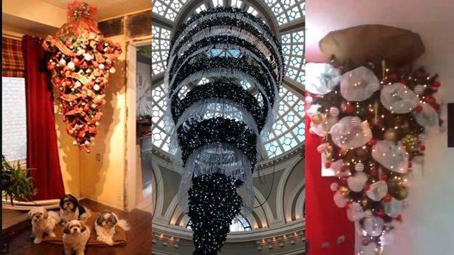 La última moda es poner el árbol de navidad invertido