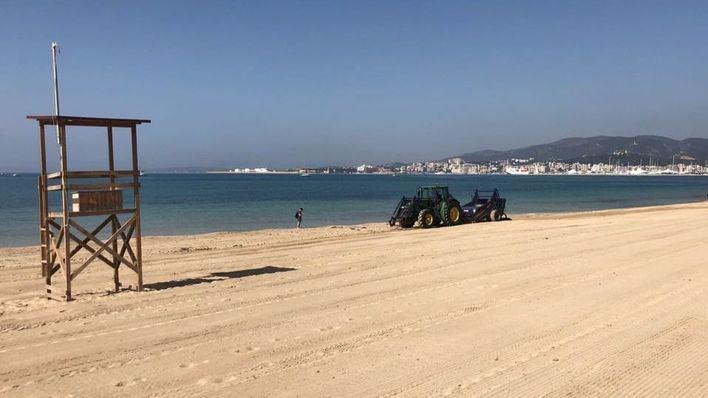 Labores de limpieza y acondicionamiento en la playa de Can Pere Antoni