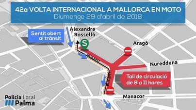 Cortes de tráfico en la AV. Alexandre Rosselló de Palma este domingo