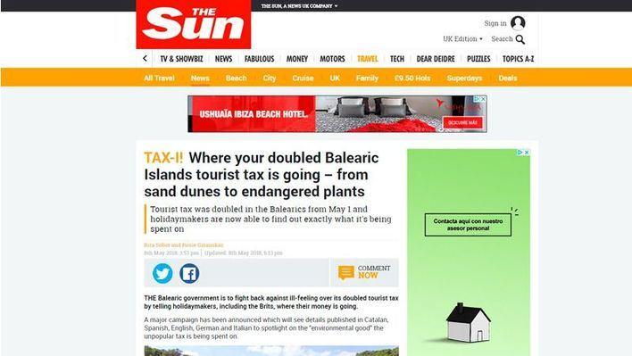 Un reportaje de The Sun explica a los turistas ingleses el destino del impuesto turístico