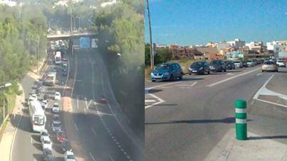 Grandes retenciones por un accidente entre cinco coches en la Via de Cintura