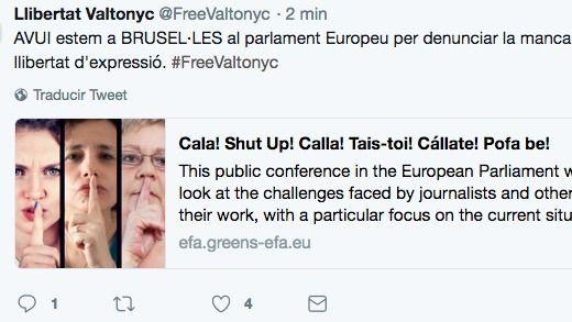 Grupo de apoyo a Valtonyc, en Bruselas