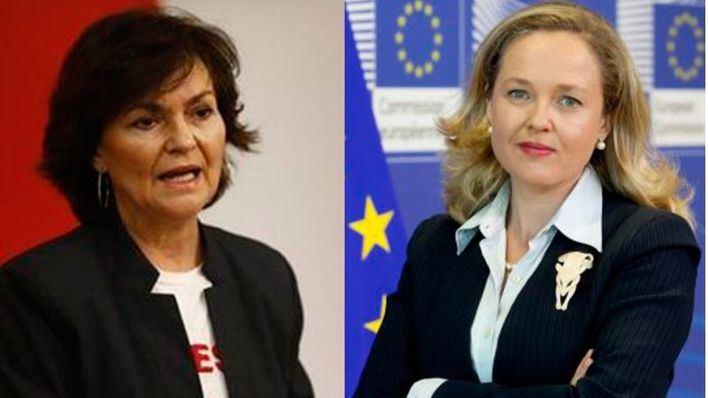Carmen Calvo, ministra de Igualdad y vicepresidenta y Nadia Calviño, Economía