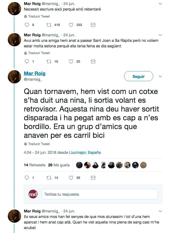 Parte del hilo de twitter de la usuaria Mar Roig, testigo del accidente