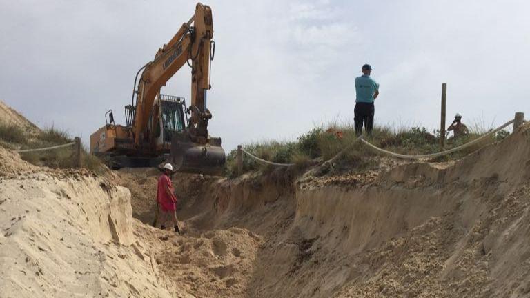 Obras y zanjas en las dunas protegidas de Es Trenc