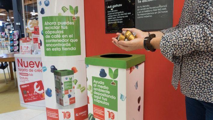 Eroski desarrolla un proyecto piloto de reciclaje de cápsulas de café