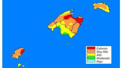 Elevan a nivel extremo el riesgo de incendios en zonas de Mallorca e Ibiza
