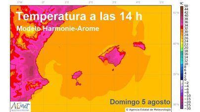 Mallorca podría alcanzar este domingo los 39 grados