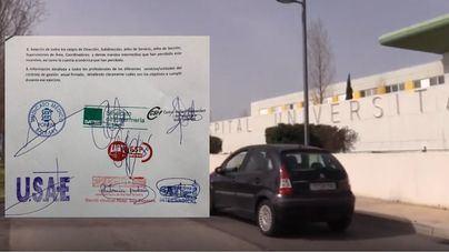 Firmas de los sindicatos en el documento que han acordado