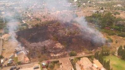 Un avión, un helicóptero, bomberos y 29 brigadistas actúan para apagar un incendio en Son Anglada