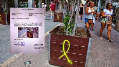 """Exigen a Noguera neutralidad y la limpieza """"inmediata"""" de las pintadas de lazos amarillos en Palma"""