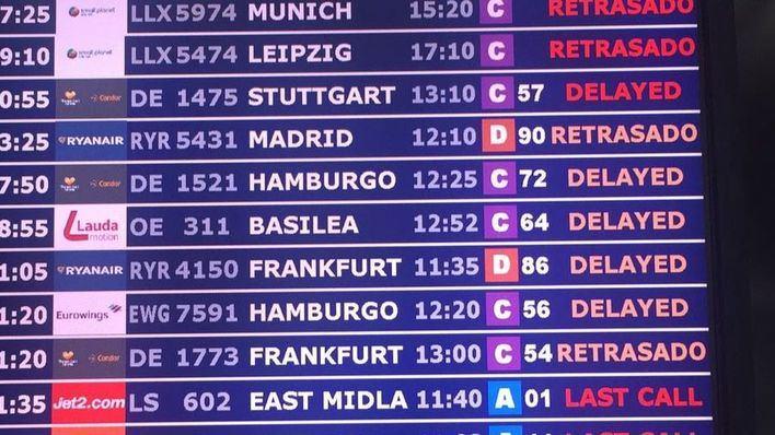 Unos 40 vuelos con origen o destino Son Sant Joan sufren retrasos por culpa del mal tiempo