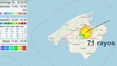Alerta por chubascos localmente fuertes y con tormenta en el interior de Mallorca