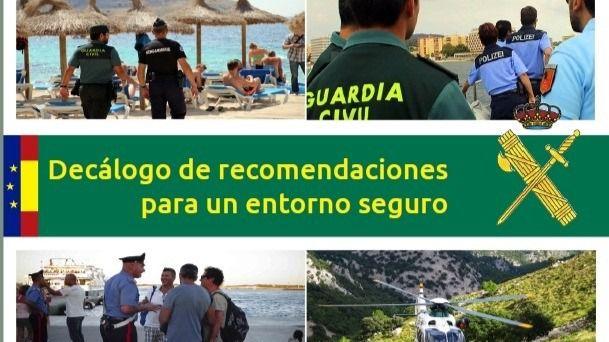 La Guardia Civil de Balears publica un Decálogo de recomendaciones a turistas para un entorno seguro